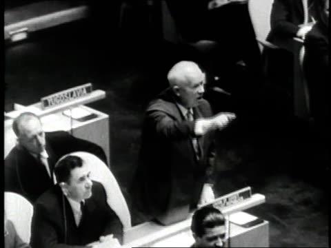 Soviet Premier Nikita Khrushchev speaks during a United Nations meeting in New York City New York