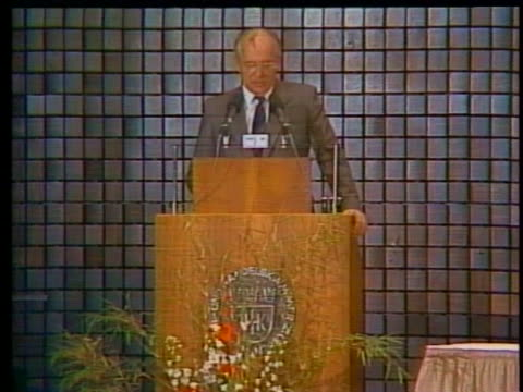 soviet president mikhail gorbachev's reception in west germany shows how attitudes are changing in western europe - western europe stock videos & royalty-free footage