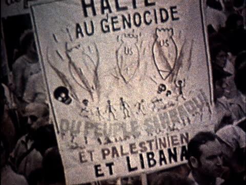 soviet propaganda dealing with israeli aggression in lebanon/ antiisreal protests - palestine liberation organisation stock videos & royalty-free footage