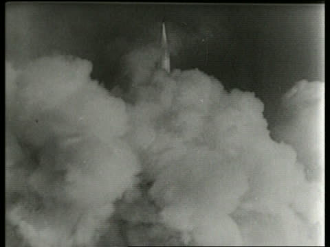 soviet rocket lifting off from clouds of smoke / sound - 1965 stock videos & royalty-free footage