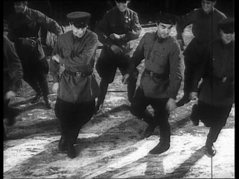 soviet soldiers performing traditional russian jump based dance - russian culture stock videos & royalty-free footage