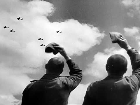 soviet soldiers seeing off us heavy bombers taking of for air raid as a part of operation frantic - air raid video stock e b–roll