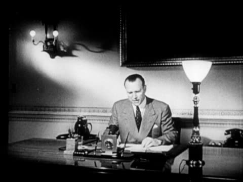 soviet un delegate yakov malik sitting at desk sot in english saying soviets believe discussions should be started between belligerentscease... - waffenstillstand krieg stock-videos und b-roll-filmmaterial