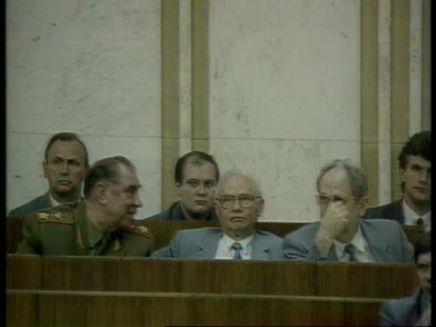 politics soviet union soviet union moscow supreme court cms soviet pres mikhail gorbachev speaking at mikes ms kryuchkov and others listening to... - former soviet union stock videos & royalty-free footage