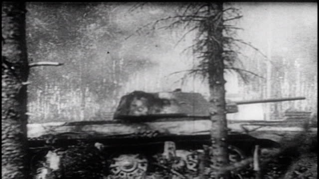 soviets repel german advances / tank running over tree, soviet generals involved in the battle - konstantin rokossovsky,nikolai vatutin, ivan konev,... - battle stock videos & royalty-free footage
