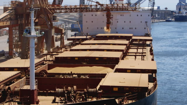 ls soy being loaded onto a bulk carrier / paranagua, brazil - soybean stock videos and b-roll footage