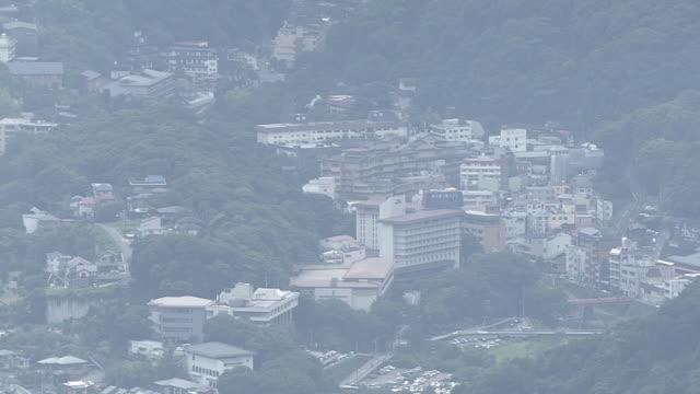 aerial, spa resort in hakone, kanagawa, japan - 神奈川県点の映像素材/bロール