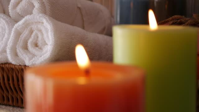 spa setting at massage salon - bathroom stock videos & royalty-free footage