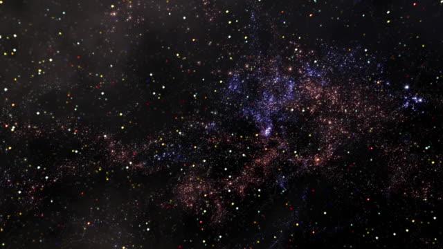 vídeos de stock, filmes e b-roll de space 2439: reverse view traveling through star fields in space - espaço e astronomia