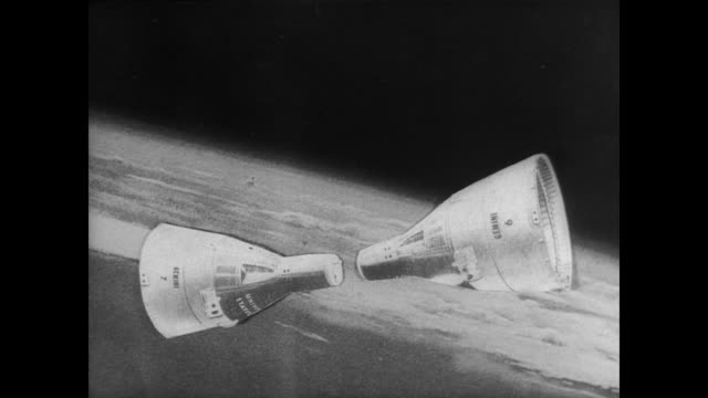 stockvideo's en b-roll-footage met space capsule floating above the earth / coordination of rendezvous with gemini vii / animation of the two rockets in orbit explaining procedure... - verschijning