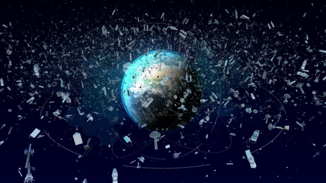 vídeos de stock e filmes b-roll de space debris in earth orbit - lixo