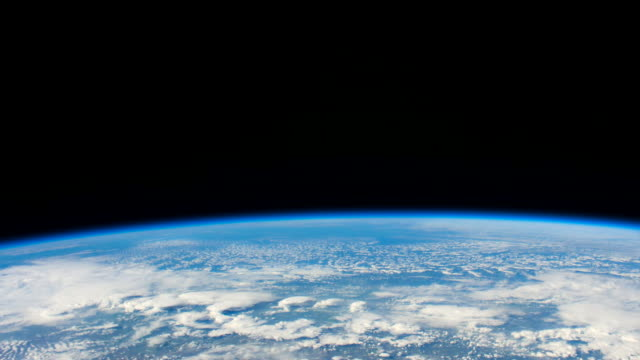 Space exploration: planet Earth point of view from the International Space Station. Time lapse showing the beautiful blue colour of our home planet