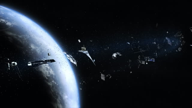 space junk (pollution) orbiting earth - atmosphere stock videos & royalty-free footage