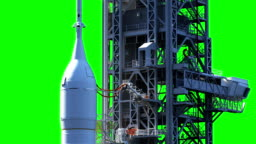 Space Launch System On Launch Pad. Green Screen.