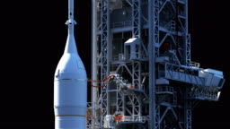 Space Launch System On Launch Pad. Luma Channel. 3D Animation. 4K.
