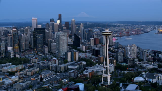 AERIAL Space Needle and Downtown Seattle at dusk