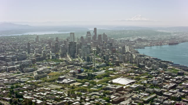 AERIAL Space needle and Downtown Seattle on a sunny day