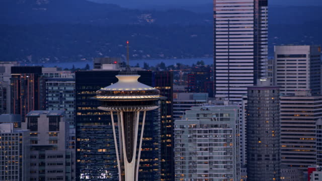 AERIAL Space Needle in Seattle, Washington at dusk