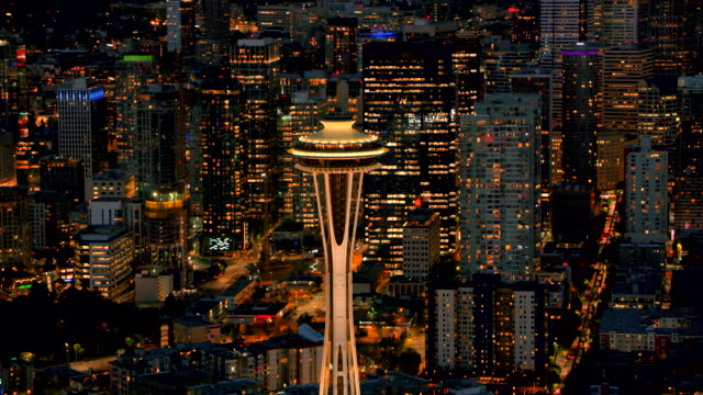 AERIAL Space Needle in the city of Seattle at night