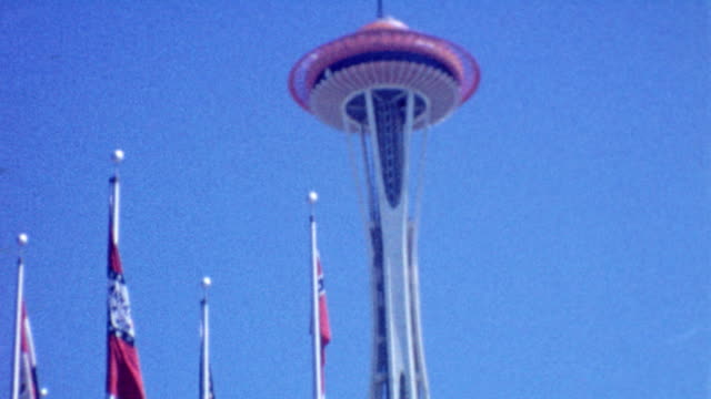 space needle / seattle world's fair / monorail / science exhibit / square dancing / century 21 exposition at world's fair on october 01 1962 in... - space needle bildbanksvideor och videomaterial från bakom kulisserna