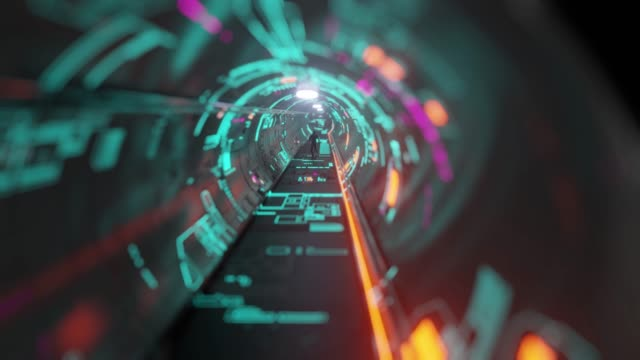 space portal tunnel with cosmonaut corridor - astronaut stock videos & royalty-free footage