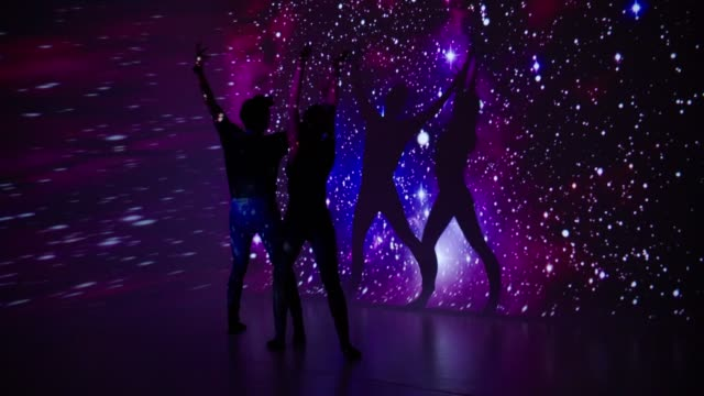 space projection upon dancer couple - modern dancing stock videos & royalty-free footage