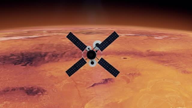 weltraumforschung. satellit umkreist mars - astronomie stock-videos und b-roll-filmmaterial
