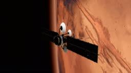 Space Research. Satellite orbiting near Mars