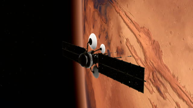 Space Research. Satellite orbiting near Mars