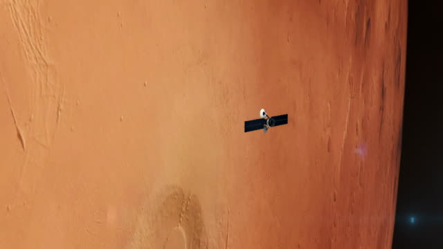 space research. satellite orbiting near mars - space mission stock videos & royalty-free footage