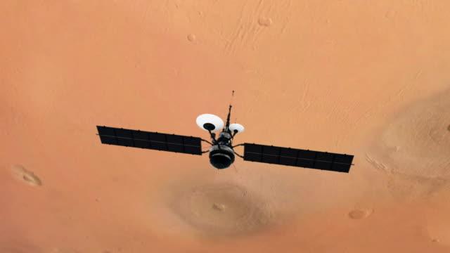 Ruimteonderzoek. Satelliet in een baan in de buurt van Mars