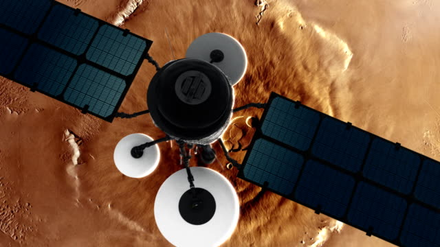 space research. satellite orbiting near mars - razzo spaziale video stock e b–roll