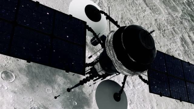 Ruimteonderzoek. Satelliet in een baan in de buurt van de maan