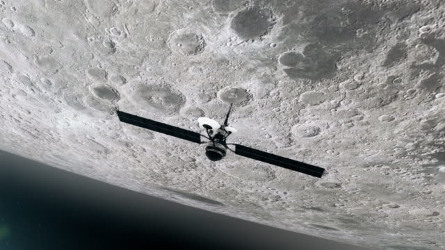 space research. satellite orbiting near moon - orbiting stock videos & royalty-free footage