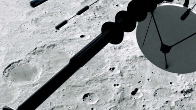 Space Research. Satellite orbiting near Moon