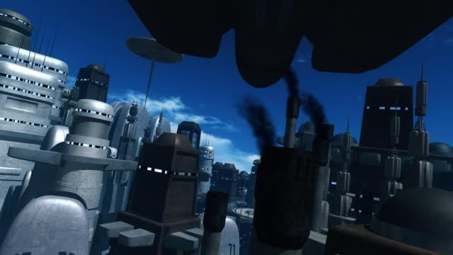 vídeos y material grabado en eventos de stock de espacio volando sobre un barco futurista a la ciudad - lanzacohetes