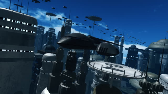 Space Ship Flying towards Camera in a Future City