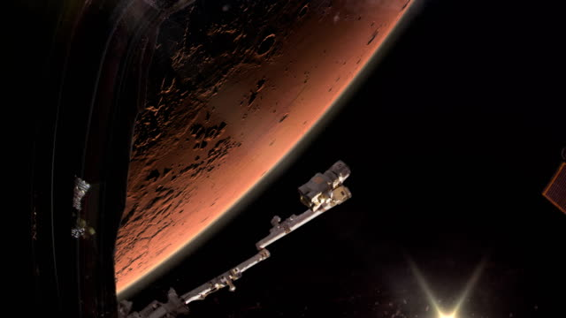 space ship in mars orbit. - fuel and power generation stock videos & royalty-free footage