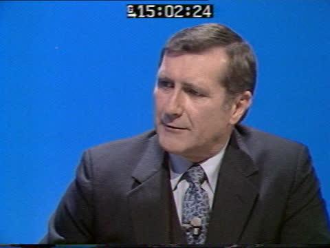 special: pab 14.45; england: london: gir: int live studio richard gordon discussion sot - ピーター・シソンズ点の映像素材/bロール