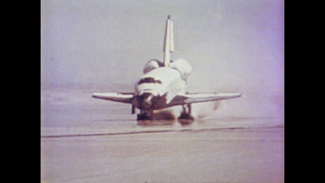 space shuttle columbia lands on the runway at edwards air force base - 1981 stock videos & royalty-free footage