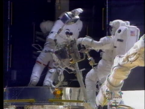 space shuttle discovery astronauts repair the hubble space telescope and send it on its way. - astronomical telescope stock videos & royalty-free footage
