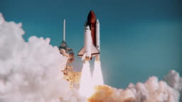 Space Shuttle launch in slow motion. (NASA logo removed)