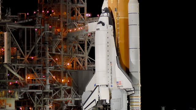 T/L CU ZO Space Shuttle on launch pad at night / Cape Canaveral, Florida, USA