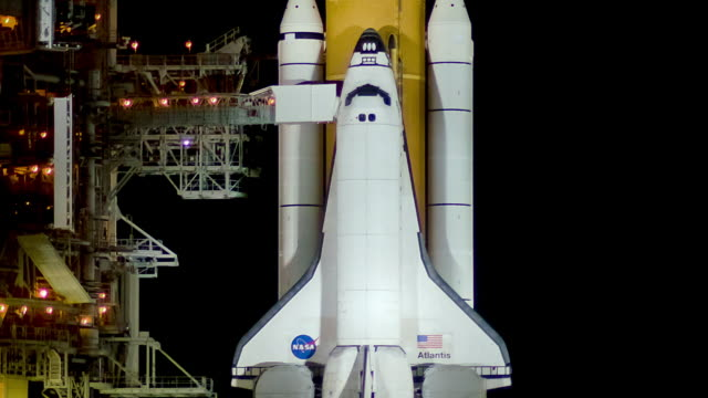 CU ZO Space Shuttle on launch pad at night / Cape Canaveral, Florida, USA