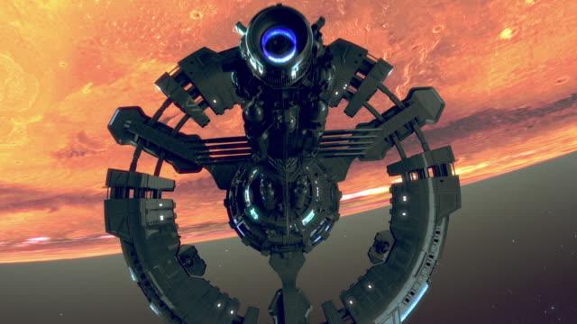 火星軌道の宇宙ステーション。火星の植民地化。 - 宇宙船点の映像素材/bロール