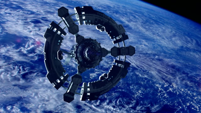 space station in planet earth orbit. space exploration. - ship launch stock videos & royalty-free footage
