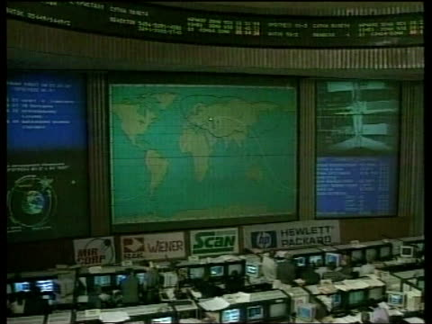 mir space station pool via reuters korolyov mission control mission control centre mir seen on monitor ms mir space station mir orbtiting earth - mir space station stock-videos und b-roll-filmmaterial