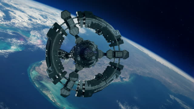 vídeos y material grabado en eventos de stock de estaciones espaciales en la órbita terrestre del planeta. exploración espacial. - tres objetos