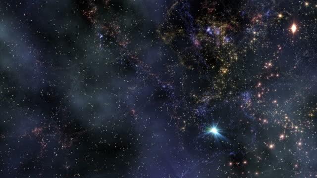 space travel through star fields - weltraum und astronomie stock-videos und b-roll-filmmaterial