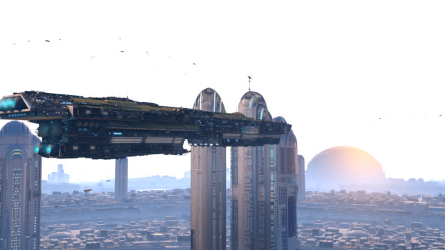 spacecraft crossing a futuristic city - razzo spaziale video stock e b–roll